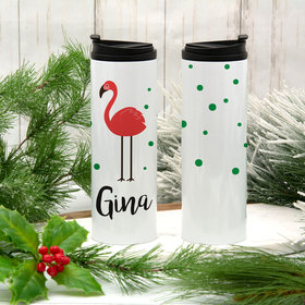 Personalized 16oz Stainless Steel Thermal Tumbler- Flamingo