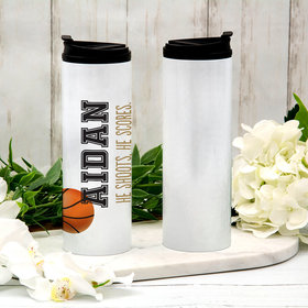Personalized 16oz Stainless Steel Thermal Tumbler- Basketball