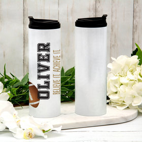 Personalized 16oz Stainless Steel Thermal Tumbler- Football