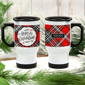 Personalized Travel Mug (14oz) - Baby its Cold Outside (Red Plaid)