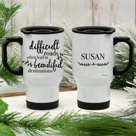 Personalized Travel Mug (14oz) - Difficult Roads