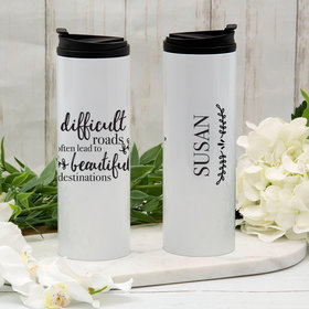 Personalized 16oz Stainless Steel Thermal Tumbler- Difficult Roads