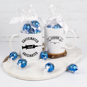 Personalized Caffeinated and Vaccinated 11oz Mug with Lindt Truffles