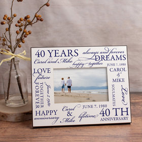 Personalized Picture Frame Wedding Anniversary Word Cloud