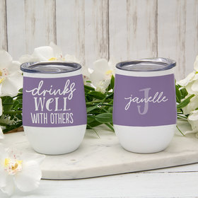 Personalized Drinks Well with Others Wine Tumbler (12oz)