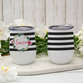Personalized Floral Name Wine Tumbler (12oz)