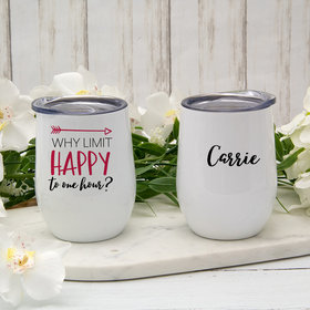 Personalized Happy Hour Wine Tumbler (12oz)