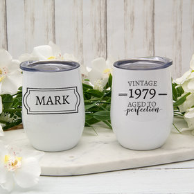Personalized Aged to Perfection Wine Tumbler (12oz)