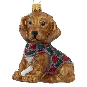 Personalized Dachshund Puppy Figure in a Sweater Christmas Ornament