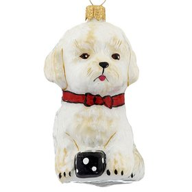 Personalized Maltese Puppy Figure Christmas Ornament