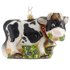Personalized Black & White Cow Christmas Ornament