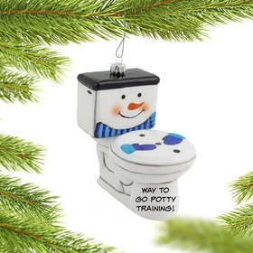 Personalized Frosty the Toilet Christmas Ornament