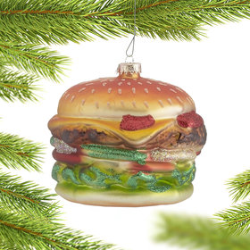 Personalized Grilled Hamburger Christmas Ornament