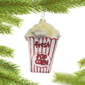 Personalized Movie Theater Buttered Popcorn Christmas Ornament