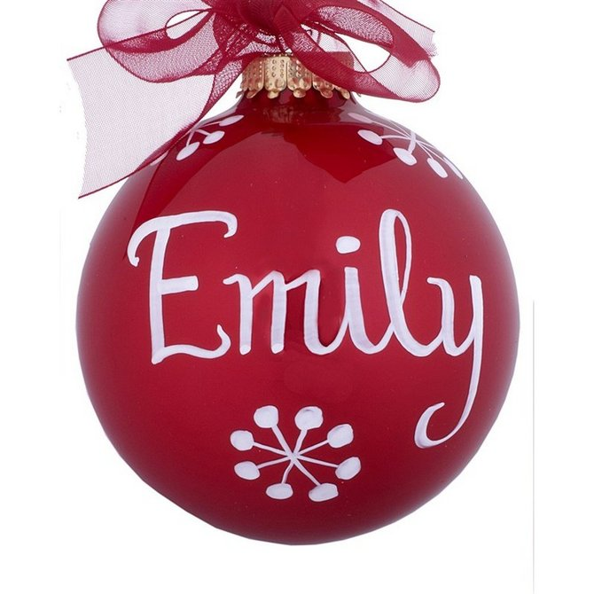 Personalized 07 July Ruby Birthstone Ball Christmas Ornament