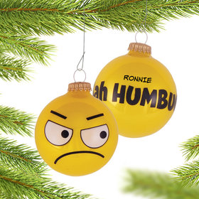 Personalized Bah Humbug Emoji Face Christmas Ornament