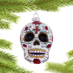 Personalized Day of the Dead Skull Christmas Ornament