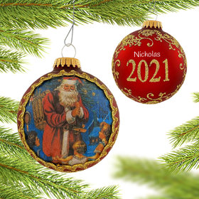 Personalized 2021 Dated Santa on Silk (Pere Noel) Christmas Ornament