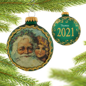 Personalized 2021 Dated Santa on Silk (Father Christmas) Christmas Ornament