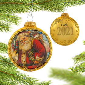 Personalized 2021 Dated Santa on Silk (Santa Claus) Christmas Ornament