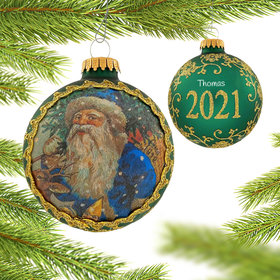Personalized 2021 Dated Santa on Silk (Sint Niklaes) Christmas Ornament