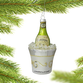 Personalized Champagne Bottle in Ice Bucket Ornament
