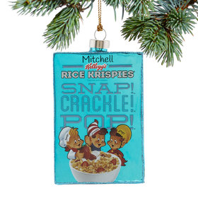 Personalized Rice Krispies Vintage Cereal Box Christmas Ornament