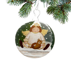 Angel Sleeping with Teddy Christmas Ornament