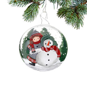 Personalized Girl with Snowman Christmas Ornament