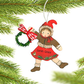 Personalized Girl Red with Garland Christmas Ornament