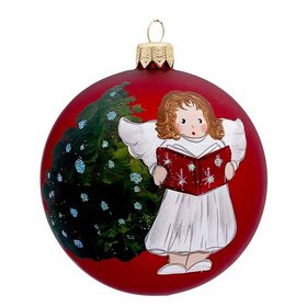Personalized Red Ball Singing Angel Christmas Ornament