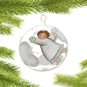 Angel Flying in the Clouds with a Star Christmas Ornament
