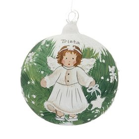 Personalized Angel with White Star in the Pine Trees Christmas Ornament