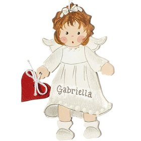 Personalized Toddler Angel with Red Heart Christmas Ornament