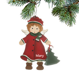 Personalized Toddler Angel in Red Coat and Hat Christmas Ornament