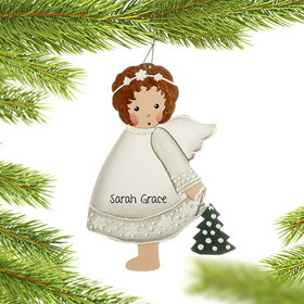 Personalized White Crystal Angel Holding a Fir Tree Christmas Ornament