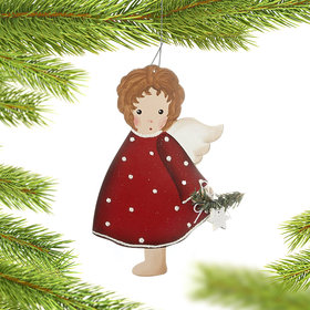 Red and White Polka Dot Dress Angel Holding a Star Christmas Ornament