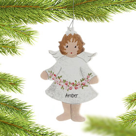 Personalized Little Girl Angel Holding Garland Christmas Ornament