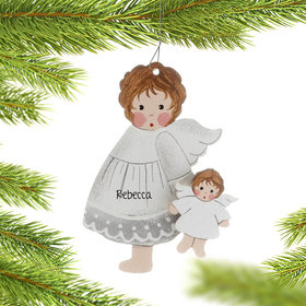 Personalized Toddler Angel Holding A Doll Christmas Ornament