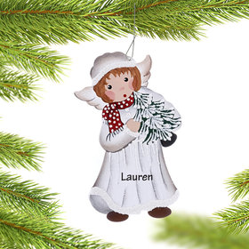Personalized Angel in White Coat Holding Christmas Tree Christmas Ornament