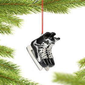 Personalized Set of Black Hockey Skates Christmas Ornament