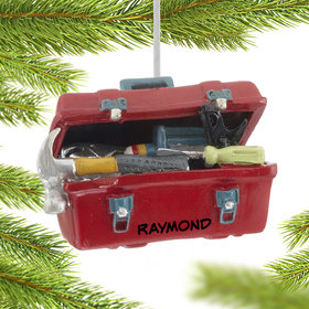 Personalized Red Tool Box Christmas Ornament