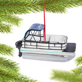 Personalized Pontoon Boat Christmas Ornament