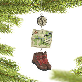 Personalized Hiking Boots, Map & Compass Christmas Ornament