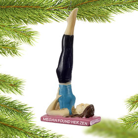 Personalized Yoga Supported Shoulderstand Pose Christmas Ornament
