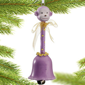 Animal Baby Bell Purple Monkey Christmas Ornament