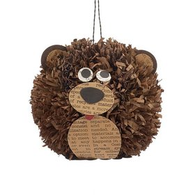 Paper Pom Pom Bear Christmas Ornament