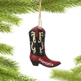 Personalized Cowboy Boots (Red and Black) Christmas Ornament