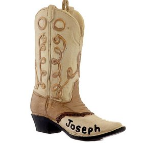 Personalized Cowboy Boots (Tan and Brown) Christmas Ornament