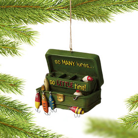 Personalized So Many Lures Tackle Box Christmas Ornament